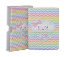 Luva com Álbum fotográfico para 60 fotos 15x21 - Chuva de amor Colorido Nuvem - Bebê Infantil - Hobby Mania