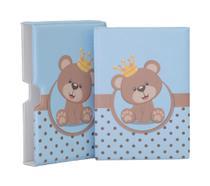 Luva com Álbum fotográfico para 60 fotos 15x21 - Ursinho Príncipe azul - Bebê Infantil - Hobby Mania