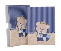Luva com Álbum fotográfico para 60 fotos 15x21 - Urso escudo coroa azul - Bebê Infantil - Hobby Mania