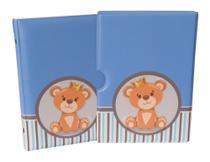Luva com Álbum fotográfico para 60 fotos 15x21 - URSO LISTRADO - Bebê Infantil Newborn Azul ursinho - Photo Álbum Universal