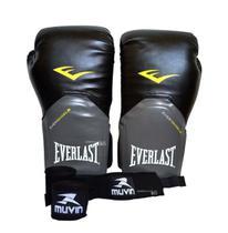 Luva Com Bandagens Para Muay Thai Boxe 12 Oz Everlast Pro Style -