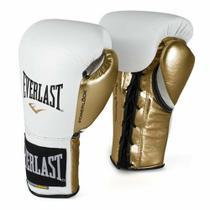 Luva de Boxe Everlast PowerLock Laces Branco e Dourado -