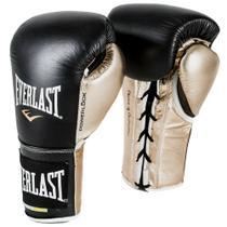 Luva de Boxe Everlast PowerLock Laces Preto e Dourado -