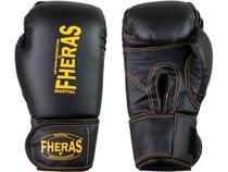 Luva de Boxe Muay Thai MMA Pro Black Yellow Fheras 10Oz -
