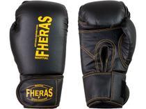 Luva de Boxe Muay Thai MMA Pro Black Yellow Fheras 12Oz -