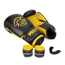 Luva de Boxe Muay Thai Pretorian Com Bandagem Protetor Bucal Treinamento Tamanho 12 OZ -