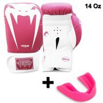 Luva de Boxe Venum Giant Brasil Rosa 14 Oz + Protetor Bucal -