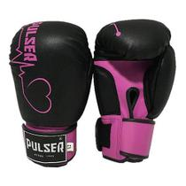 Luva feminina 12 Oz Boxe / Muay Thai / Kickboxing / PRETA coração rosa -  Thunder Fight PULSER - Ref 747 -