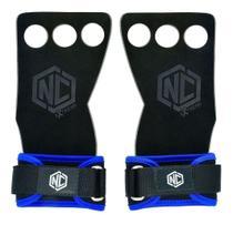 Luva Hand Grip Cross Palmar Pull Up Lpo Couro 3 Furos P Azul - Nc Extreme