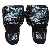 Luva Muay Thai Boxe 08 Oz Fight Brasil Dragon Elite Ate 12 Anos -