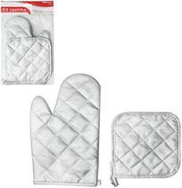 Luva Para Cozinha Poliester Termica+Descanso De Panela Prata - Wellmix