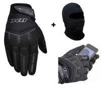 Luva Preta X11 Fit Touch Screen Moto Motociclista Motoboy Frio Inverno + Capuz Touca Ninja - X11 + DVSC