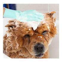 Luva Silicone Escova Esponja Cozinha Lava Louça Banho Cães Pet Gato -