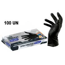 Luva Vinilflex Preta 100 Unidades Tamanho G - Bompack