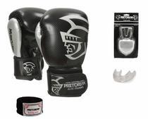 Luvas Boxe / Muay Thai - Elite Training - Preto/Prata - Pretorian - 12/14 OZ -