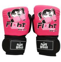 Luvas Boxe Muay Thai Infantil 4 Oz Feminina Rosa Fight Brasil -