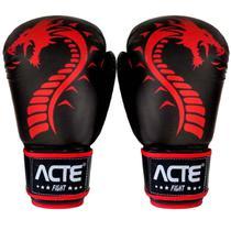 Luvas De Boxe E Muay Thai Dragon Couro Flex Vermelha Acte -