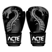 Luvas De Boxe E Muay Thai Dragon Em Couro Flex Preta Acte -