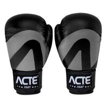 Luvas De Boxe E Muay Thai Em Couro De Pu Preta Acte -