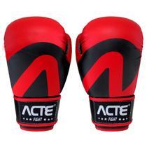 Luvas De Boxe E Muay Thai Em Couro De Pu Vermelha Acte -