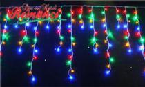Luz de Natal Cascata 300 Lâmpadas LED Color Fio Branco Pisca 127V 7,0 Mts - Galaxy