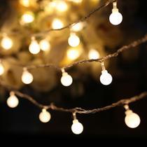 Luz de Natal Cordão 10 Lâmpadas Incandescentes Com 100 LEDS Branco Quente Fio Arame Bivolt 4,0 Mts - Global