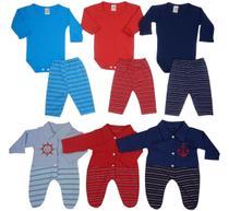 Macacão, Body e Calça Recém-nascido Menino - Kit Com 9 Peças Cores Azul/Vermelho/Azul Marinho - Eve Baby