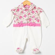 Macacão de Bebê Menina Rosas Pink Manga Longa - Tieloy