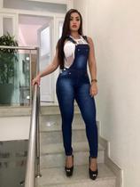 874c73168b Macacão Jeans Feminino Jardineira Calça Lycra Mac01 - Sr jeans