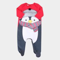 Macacão Longo Bebê Kyly Pinguim Cotton -