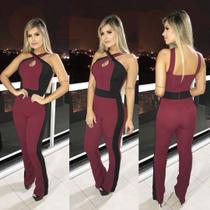 7fbbde5d1 Macacão Longo Feminino em Crepe Regata Com Bojo Flare Vinho - Tec online  brasil