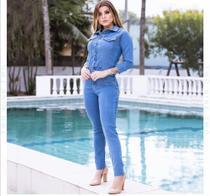 Macacão longo jeans manguinha - azul tamanho 44 - Two Jeans
