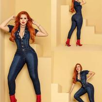 Macacão longo jeans manguinha botão - azul tamanho 38 - Lm