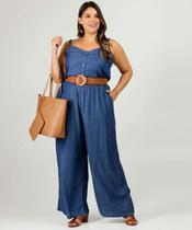 Macacão Plus Size Feminino Jeans Alças Finas - Cambos Premium