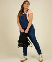 Macacão Plus Size Feminino Jeans Bolso - Cambos Premium