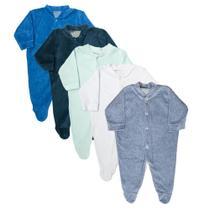Macacão Plush Bebê Kit 5 Peças Pijama Masculino - Dcp Kids