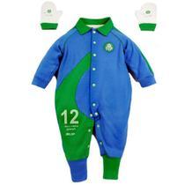 Macacão revedor palmeiras goleiro menino azul e verde -