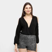 Macaquinho Angel City Transpassado Shorts Renda Metalizada Feminino -