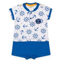 Macaquinho Bebê Menino Âncora Azul - Fantoni