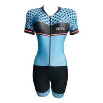 Macaquinho Ciclismo Feminino Azul Bolinhas Forro em GEL - Pro tour