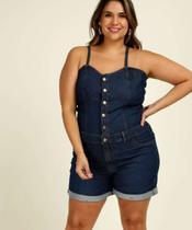 Macaquinho Plus Size Feminino Jeans Alças Finas - Cambos Premium