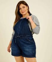 Macaquinho Plus Size Feminino Jeans Amarração - Cambos Premium