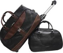Mala Bolsa de viagem, rodinhas, bordo, pequena e Bolsa de mão marrom - Fany