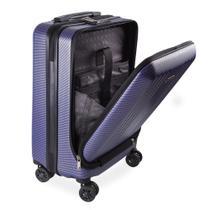 Mala de Bordo Executiva para Notebook para Viagem ABS Roda Dupla Giro 360º Cadeado TSA SWISSLAND Azul -
