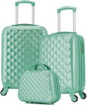 Mala De Viagem Bordo 55x35x25 Kit Com Frasqueira Verde Feminina Pequena Abs Rígida 4 Rodinhas 360 Cadeado Senha Seanite -