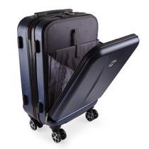 Mala de Viagem Pequena Bordo Executiva para Notebook Entrada USB ABS IKA Premium Cadeado TSA Azul -