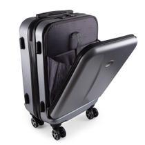 Mala de Viagem Pequena Bordo Executiva para Notebook Entrada USB ABS IKA Premium Cadeado TSA Prata -