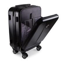 Mala de Viagem Pequena Bordo Executiva para Notebook Entrada USB ABS IKA Premium Cadeado TSA Preta -