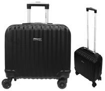 Mala De Viagem Pequena Executivo Laptop Notebook ABS Preta Rodinhas 360 - Sestini