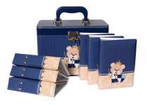 Maleta 10X15 Urso Escudo - 6 álbuns fotográficos - 600 fotos - Azul ursinho Bebê Infantil Príncipe - Pirlim Foto